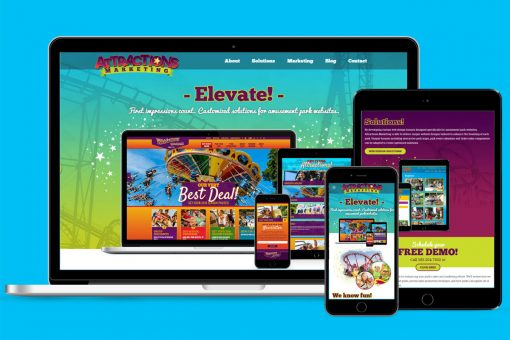 Attractions Marketing on multiple devices, blue background