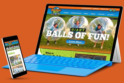 Bubbleball Extreme website on Microsoft Surface and phone