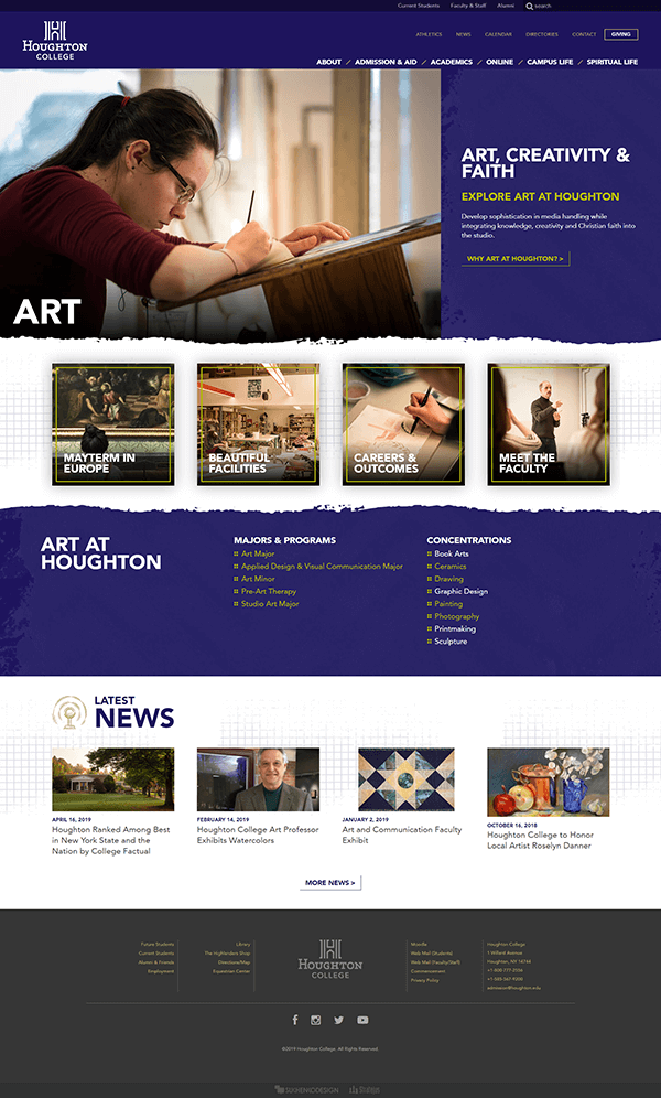 Houghton College Art Department Landing Page